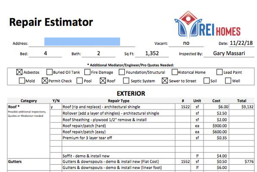 A Rehab Repair Estimator
