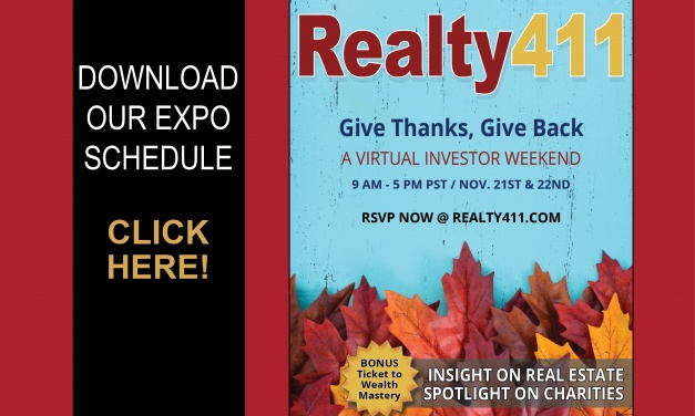 """Download Our Expo Agenda – Realty411's """"Give Thanks, Give Back"""" Investor Expo is this Weekend. Register Here."""