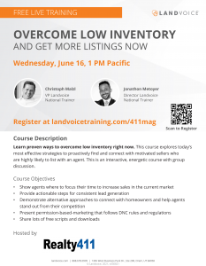 Free training -- Overcome Low Inventory & Get More Listings Now @ Online/Virtual